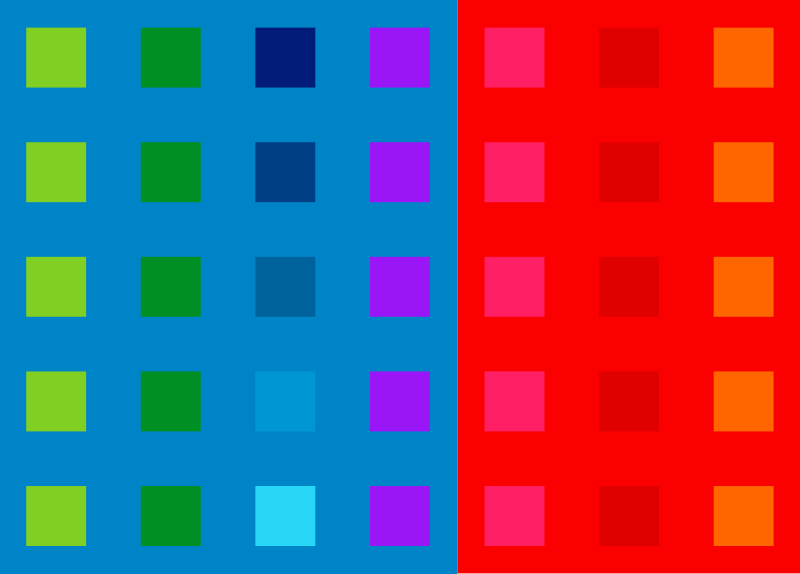 Colored squares organized in a grid